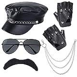 Tutent Biker Disfraz Accesorios Sombrero de Motociclista Negro Gafas de Sol de Punk Rock Guantes de Bigote Accesorios de rockero de Motociclista gótico Set para Fiesta Cosplay de Halloween