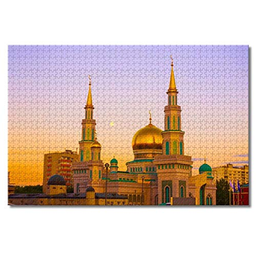 HNFT Russia Moscow Cathedral Mosque Jigsaw Puzzles for Adults Kids 1000 Pieces Wooden Puzzle