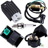 CNCMOTOK CDI Box Ignition Coil 5 Pin Regulator Rectifier Relay Spark plug For Kazuma Meerkat 50cc Falcon 70cc 90cc 110cc Taotao Roketa Coolster 110CC ATV 3050B X15 X 18 R Nitro X19 SSR Pocket Bike