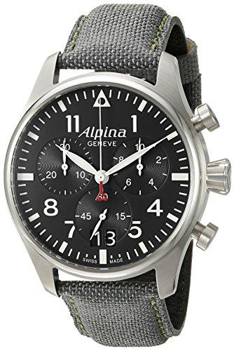 Alpina Men's AL-372B4S6 Startimer Pilot Chronograph Big Date Analog Display Swiss Quartz Black Watch