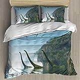 XZBLCMWYBYYYQ Mamenchisaurus Dinosaur Foggy Day 3D Illustration Two Mamenchisaurus Comfy Simple - Bedding Duvet Cover - with Pillowcases Stereoscopic Print Bedding Sets for Kids Comforter-King Size