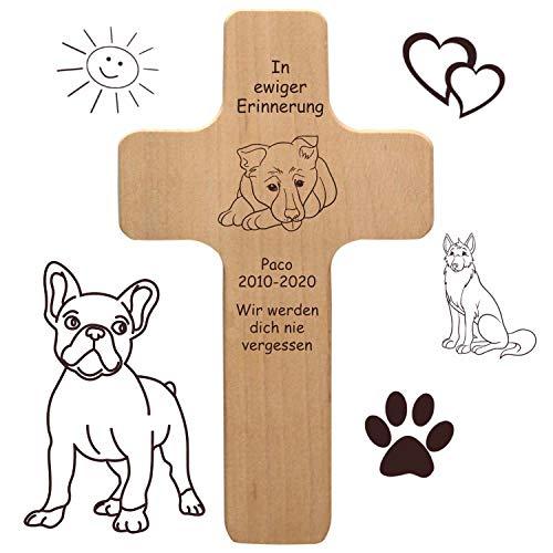 Geschenkissimo Hundekreuz mit individueller Gravur - mit Name, Spruch, Motiv - Holzkreuz für lebende oder verstorbene Hunde als Hundeschild, Gedenktafel, Trauergeschenk, Grabdeko, Sprüche mit Hund