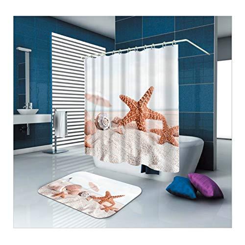 ANAZOZ Duschvorhang+Badematte 2er Set Doppelte Seestern Strand Muschel Wasserdicht Anti Schimmel Umweltfre&lich 3D Wasserwürfel Anti-Rutsch Badvorleger Badezimmerteppich für Badezimmer 150X200cm