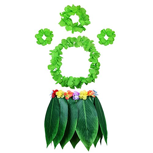 HANGNUO 5 PCS Hula Skirt Hawaiian Costume Set with Green Leaves Necklace Bracelets Headband, Luau Party Favors for Adults Women and Men