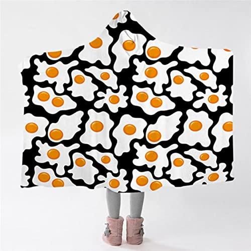 Huevos fritos Manta con Capucha Negro Blanco Amarillo Sherpa Manta de Lana Manta cómoda y portátil Manta de Dibujos Animados con Capucha 150 * 200Cm