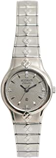 Casual Watch for Women by Accurate, Silver, Round, ALQ1233