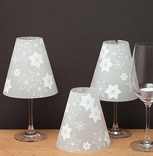 DIE STERNENHELENE, 3 Weinglas Lampenschirme aus Transparentpapier, …EIN Sternenhimmel für den Tisch!