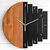 WWSC Reloj De Pared Relojes De Madera Silenciosos 30 Cm Estilo Abstracto Simple Creativo Reloj De Pared Grande Barra De Hogar Personalidad Reloj De Pared - Reloj Seguro A-30cm
