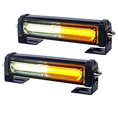 WOWTOU Amber White Grille Light Head, 16W Bright Linear LED Mini Strobe Lightbar Surface Mount for POV, Utility Vehicle, Construction Vehicle and Tow Truck