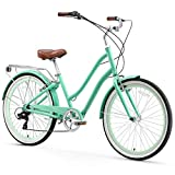 sixthreezero 630109 EVRYjourney Women's 7-Speed Step-Through Hybrid Cruiser Bicycle, 26' Wheels with 17.5' Frame, Mint Green with Brown...