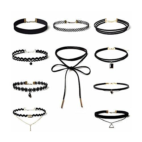 ProProCo Gothic Choker Kette - 10 Stück Procon™ Halsketten für Frauen - Halsband Damen Schwarz - Grunge Tattoo-optik Gothic Chocker Halskette - (10)