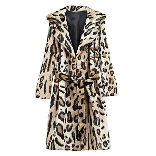 Kanpola Moda para Mujer Estampado Leopardo Manga Larga con cinturón Abrigo Largo de pellets de Lana