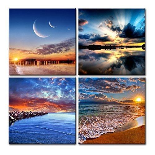 CUFUN Art C Sonnenaufgang mit Seewellen, Meerblick-Gemälde, Kunstdruck auf Leinwand