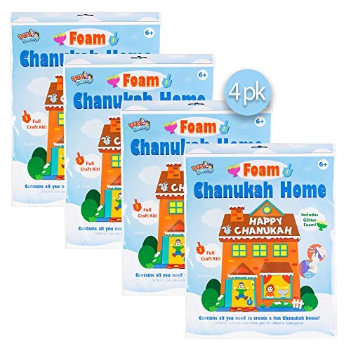 Izzy 'n' Dizzy Foam Chanukah House Kit - 4 Pack - Self Adhesive Peel and Stick Foam - Hanukkah Arts and Crafts and Games