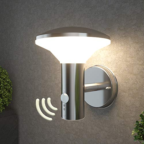 NBHANYUAN Lighting LED Outdoor Wall Light Fixtures with Motion Sensor Exterior Wall Sconce Stainless Steel Weatherproof 3000K Warm Light Front Door Porch Light 9.5W 1000LM