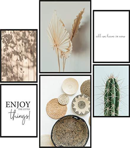 Papierschmiede® Premium Poster Set Little Boho Things | 6 Bilder als stilvolle Wanddeko | 2X DIN A4 und 4X DIN A5 | Kaktus Grün Natur - ohne Rahmen