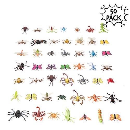 50 realistisch Plastik Tierfiguren für Kinder aussehende Spielzeugkäfer & Insekten und Ungeziefer in leuchtenden Farben & exquisiten Designs - perfekt für Bug-Liebhaber & Kinder Erziehung.