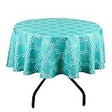 Qucover Mantel Mesa Antimanchas Impermeable Material 100% Tela de Vinilo Plástico cubremesa para de Hogar Picnic del Hotel Tienda De Café (Redondo-Color Mixto Azul y Verde)