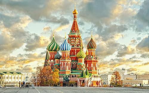 ZGNH Pintar con numeros adultos niños y principiantes Con pincel y pinturas Pintura por números 16*20 Pulgadas(sin Marco) Decoración del Hogar Regalo - Catedral de la ciudad rusa
