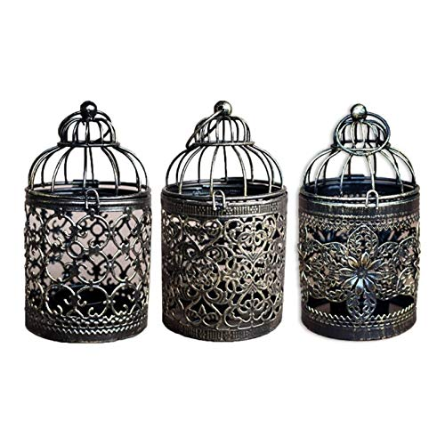 CAIZHIXIANG Hollow Tealight Candlestick Hanging Lantern Vintage Bird Cage Candle Holder Wedding Party Home Decor (Color : C, Size : Medium)