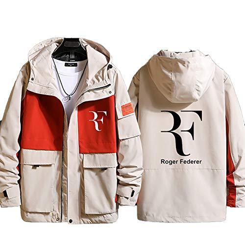 73HA73 Felpa da Uomo con Cappuccio e Zip Tennis Grand Slam Roger Federer Jacket Manica Lunga Confortevole Sweatshirt Giacca Coat (No Shirt),Orange,2XL(180-185cm)