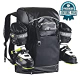 Zipline World Cup Ski Boot Bag Backpack – Waterproof Skiing and Snowboarding Travel Luggage – Stores Gear Including Jacket, Helmet, Goggles, Gloves & Accessories - 2019 Model (Black)