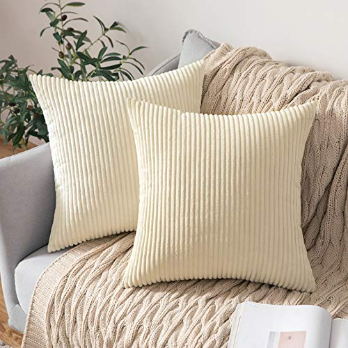 MIULEE Pack of 2 Corduroy Soft Solid Decorative Square Throw Pillow Covers Cushion Cases Pillow Cases for Couch Sofa Bedroom Car 26 x 26 Inch, White