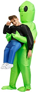 Inflatable Alien Costume Party Fancy Dress Cosplay Outfit Green Alien Carrying Human Costume Inflatable Funny Blow Up Suit...