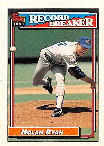 Nolan Ryan baseball card (Texas Rangers Hall of Fame) 1991 Topps #4 Record Breaker