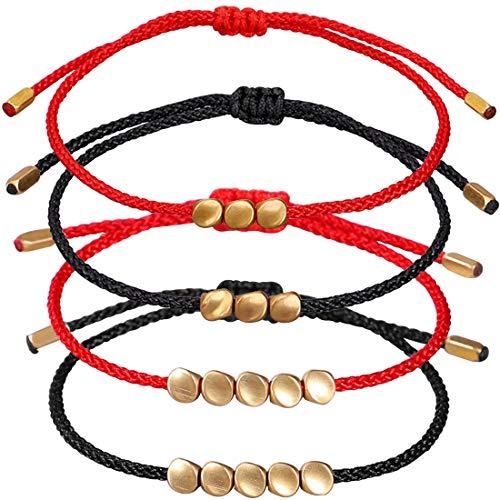 REYOK 4 Pcs Pulsera de Cuentas de Cobre Tibetano Pulsera de Nudo Afortunado Budista Hecho a Mano con Cordón Rojo Ajustable para Unisex y Ajustable