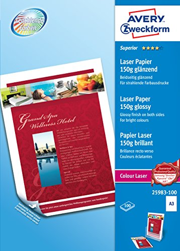 AVERY Zweckform 25983-100 Superior Colour Laser Papier (A3, beidseitig beschichtet, glänzend, 150 g/m², 100 Blatt)