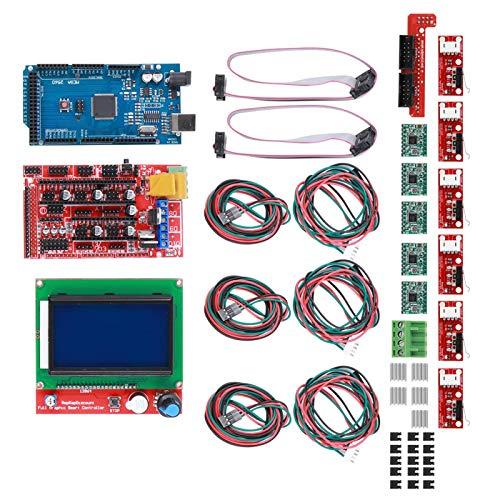 LANTRO JS - 3D Printer Kit, 3D Printer Kit RAMPS 1.4 + for Mega 2560 CH340 + 12864 Controller + A4988 Chip Board Parts Fit for Reprap