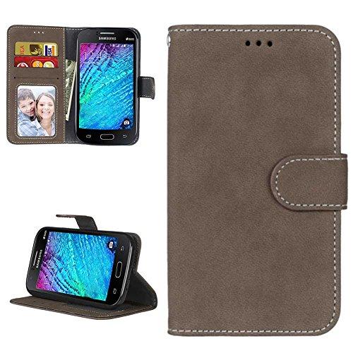 Samsung i9060 Galaxy Grand Neo Hülle Leder Tasche, Samsung Galaxy Grand Neo Plus Handyhülle Klassisch Brieftasche Stoßfest Schutzhülle Elegant Handytasche Flip Case Cover, Braun