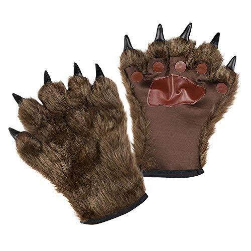 Boland 00829 Guantes de hombre lobo con pelo unisex, para adultos, color marrón