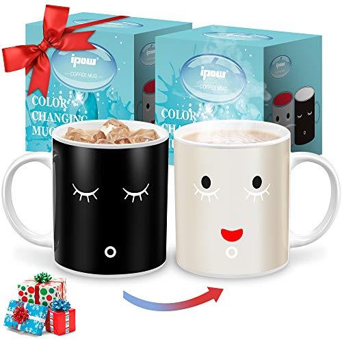 IPOW 2 Pack Color Changing Mug Magic Mug Heat Changing Mugs For Morning Coffee Tea Milk Ceramic Coffee Mugs Heat Sensitive Mug for All Holliday Special Day Best Gift Choice 12 Oz