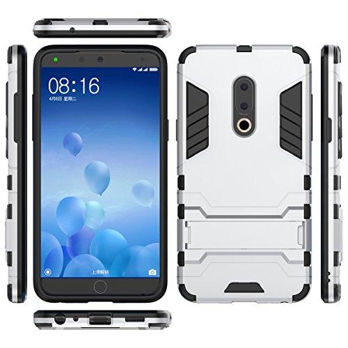 TenYll Meizu 15 Hülle, Doppelschicht-Design Stoßfest Hybrid Robuste TPU+PC Schutzhülle Mit Standfunktion,Hülle für Meizu 15 -Weiß