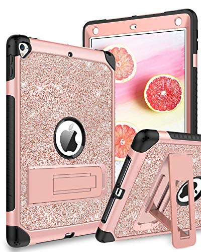 DUEDUE iPad 6th Generation Case,Case for iPad 9.7 2017/2018,iPad Air 2,iPad Pro 9.7,3 in 1 Glitter Hard PC Shockproof Durable Kickstand Full Body Protective Cover for iPad 9.7/iPad 5th Women,Rose Gold