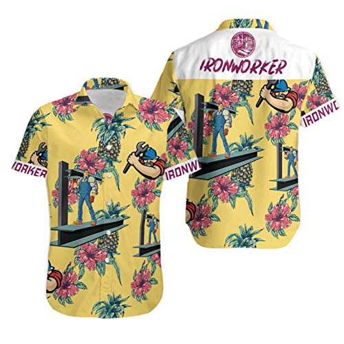 COLIMIC Ironworker Pineapple Seamless Pattern Cotton Casual Button Down Short Sleeves Hawaiian Shirt Unisex Full Print for Tropical Summer Vacation Full Size S-5XL