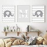 Nombre personalizado Letra inicial Elefante Animales Bebé Vivero Lienzo Pintura Cartel Impresión Arte de la pared Imágenes Niños Dormitorio Decoración para el hogar-40x60cm Sin marco