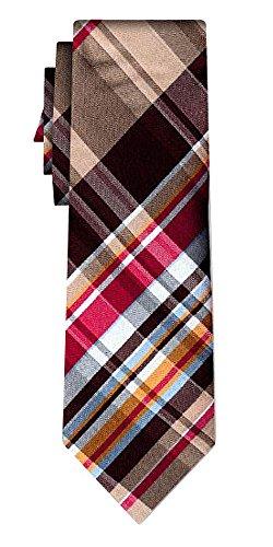 Cravate soie tartan pattern brown w red