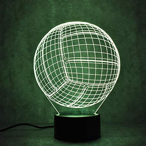 YDBDB Creative 3D Led Luminaire Coloré Luminaire Usb Lampe De Table Nouveauté Balle Forme Ballon De Volleyball Bébé Dormir Night Light Cadeaux