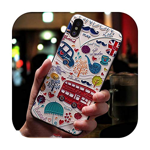 happy-Boutique - Carcasa de silicona para iPhone X, 8, 7, 6, 6S, Plus, diseño de dibujos animados, silicona