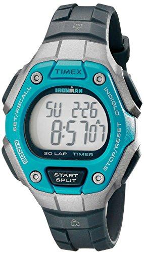 Timex Women's Ironman 30-Lap Digital Quartz Mid-Size Watch, Black/Silver-Tone/Blue - TW5K89300