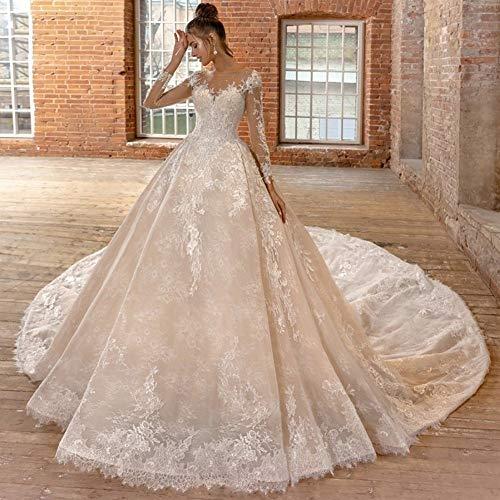 Vestidos de novia Una línea de apliques de encaje de manga larga de encaje rebordear vestido de la...