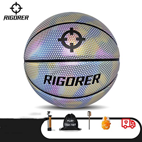 Find Discount YZPXDD Holographic Glowing Reflective Basketball Mens Official NBA Size 29.5 Size 6 Wo...