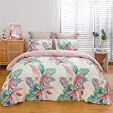 ViViTOP Flower Full Queen Duvet Cover Set Tropical Palm Leaf Pattern Bedding Sets for Girls Women Ultra Soft Breathable Cotton Material