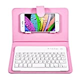 VBESTLIFE Custodia con Tastiera per Telefono Bluetooth Universal Wireless Tastiera del Telefono Custodia Cover Senza Fili con Supporto per Telefono iOS/Android(Rosa)