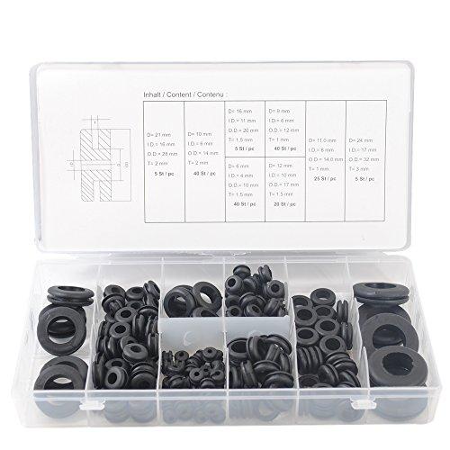 CCLIFE Metric Gummitülle Sortiment Gummi Durchgangstüllen Karosserietüllen Gummitüllen Set 180 tlg