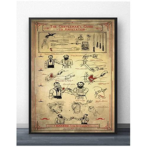 FUXUERUI La guía del caballero para la amputación cuadro artístico de pared pintura en lienzo póster impreso para la decoración de la pared de la clínica del consultorio médico,50x70cm sin marco