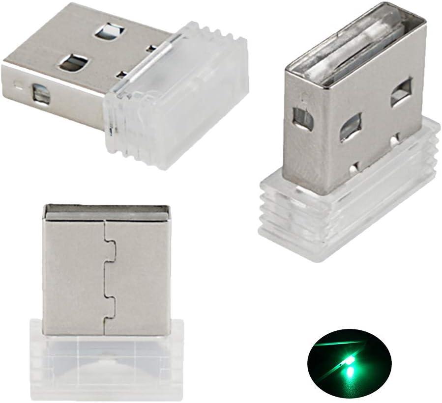 Bevinsee Mini USB Led Light for Car Plug-in 5V Lamp Interior Ambient Lighting Kit,Green,3pcs